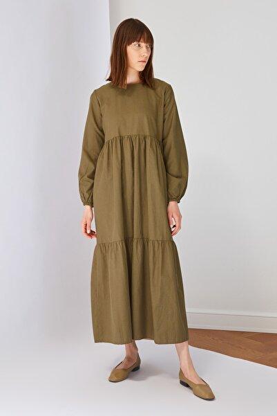 Trendyol Modest Haki Pamuk Poplin Elbise TCTSS21EL3406