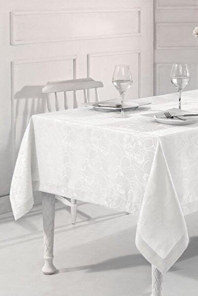 Nazik Home Beyaz Renk Smooth Jakar Desenli Leke Tutmaz Masa Örtüsü  150 X 250  cm