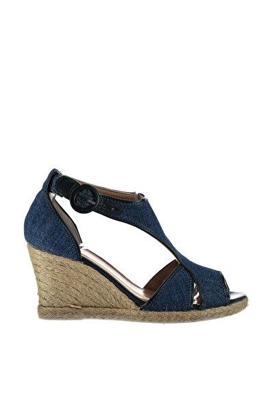 Derimod Denim Mavi Kadın Dolgu Topuklu Ayakkabı
