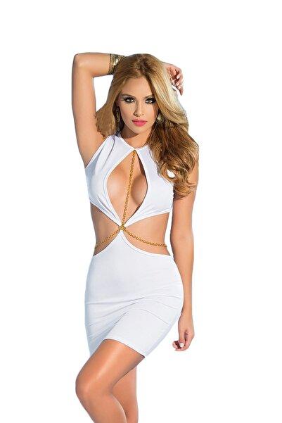 Mite Love Dekolteli Fantezi Elbise Beyaz