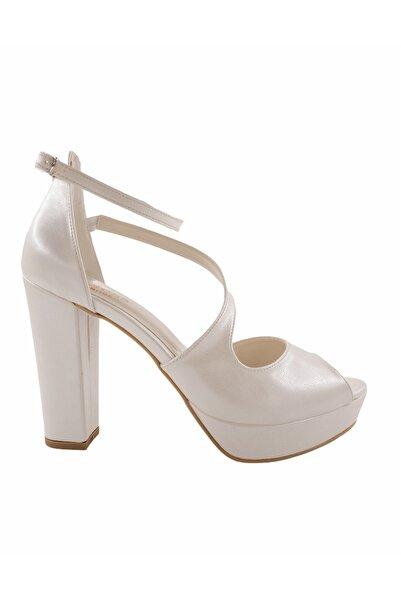Gess Sedef Beyaz Kalın Topuk Platformlu Gelinlik Ayakkabısı