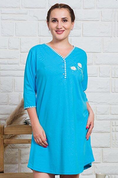 VİENETTA Kadın Mavi Kısa Kol Desenli Pijama Üstü