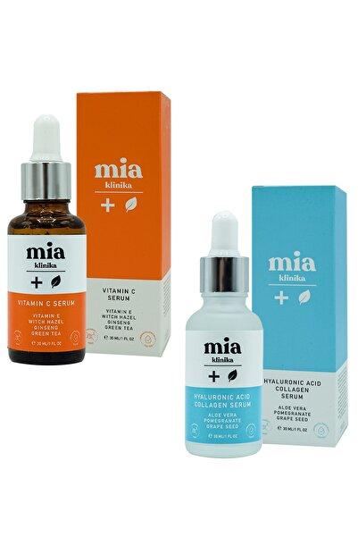 mia klinika Aydınlatıcı C Vitamini Serum  Hyaluronik Acid Ve Collagen Serum 2'li Set 30 ml