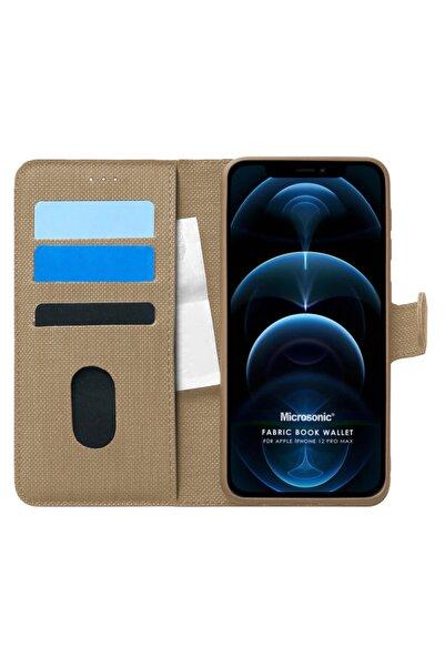 Microsonic Apple Iphone 12 Pro Max Kılıf Fabric Book Wallet Gold
