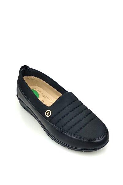 Gökcen t4127 Topuk Jelli Esnek Dalgıç Kumaş Ortopedik Günlük Kadın Ayakkabısı Siyah