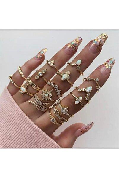 QUEEN AKSESUAR Gold Altın Renk Kaplama Eklem Yüzüğü Seti Parlak Taşlı Yüzük Set