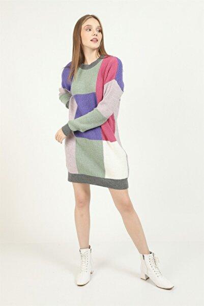 İklim Kadın Antrasit Şardonlu Renkli Triko Tunik