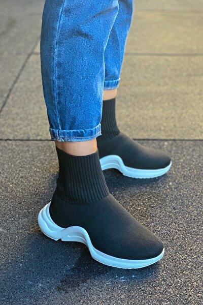 Modayı Tıkla Kadın  Yüksek Taban Çorap Model Siyah Ayakkabı