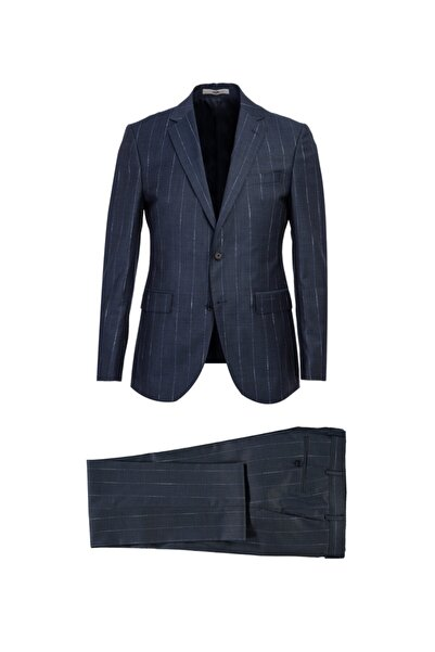 Kiğılı Slim Fit Çizgili Yünlü Takım Elbise