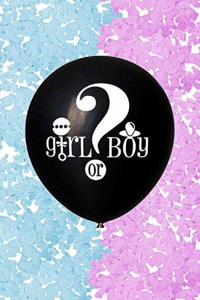 Parti dolabı Büyük Girl Or Boy Siyah Cinsiyet Belirleme Partisi Balonu Konfeti Hediyeli