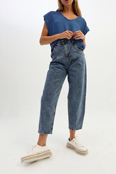 Quzu Yüksek Bel Slouchy Pantolon Açık Mavi