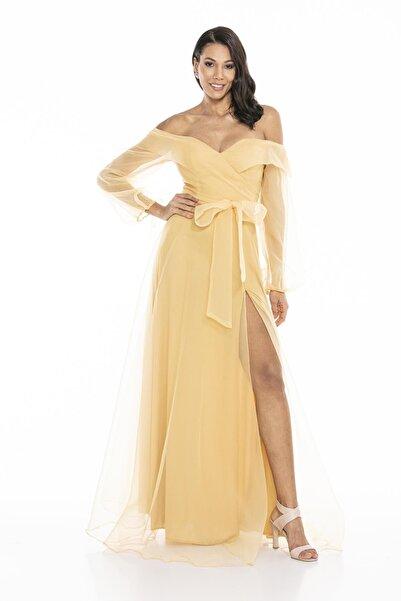 Abiye Sarayı Kadın Sarı Kayık Yaka Yırtmaç Ve Kemer Detaylı Tül Uzun Abiye Elbise