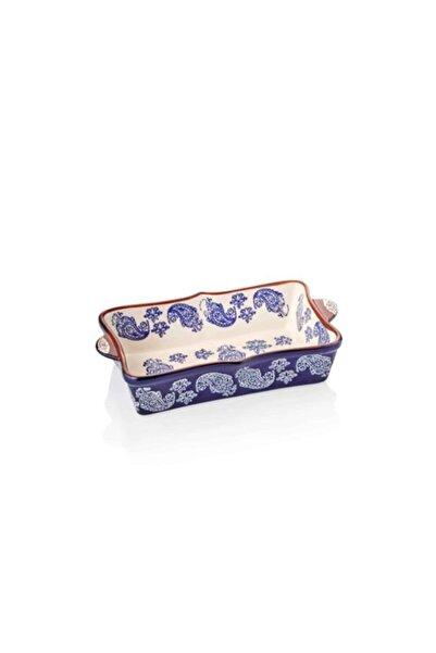 Cemile 25x13 Cm Dikdörtgen Porselen Mavi Fırın Kabı 033k-mk