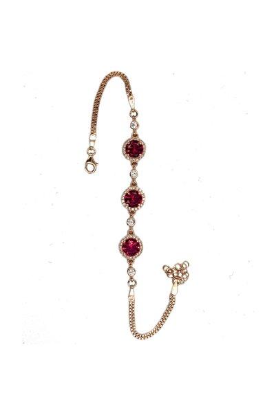 ENDERŞAH Kadın  Kırmızı Zirkon Taşlı 925 Ayar Gümüş Bileklik