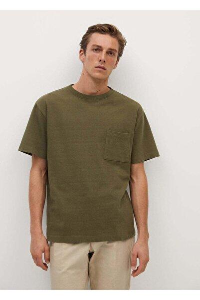 MANGO Man Erkek Haki Cepli Pamuklu Tişört