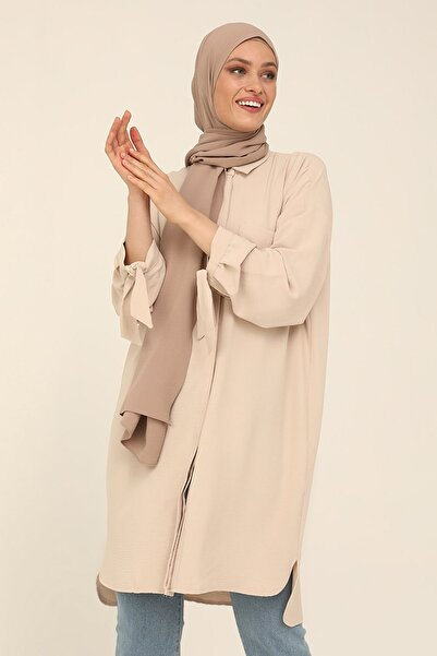 Refka Kadın Bej Bağlama Detaylı Arkası Uzun Tunik Bej Refka Woman 1855709