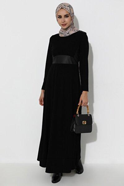 ZENANE Kadın Siyah Deri Görünümlü Elbise Siyah ZENANE 1839336