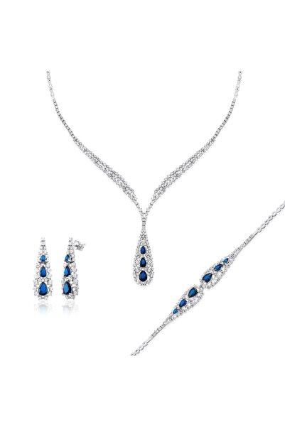 Pella Kuyumculuk Kadın Mavi Kravat Modeli Zirkon Taşlı Su Yolu Set
