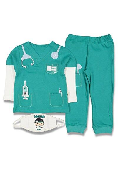 bebegen Yeşil Beyaz Doktor Modelli Maskeli 2'li Çocuk Takım