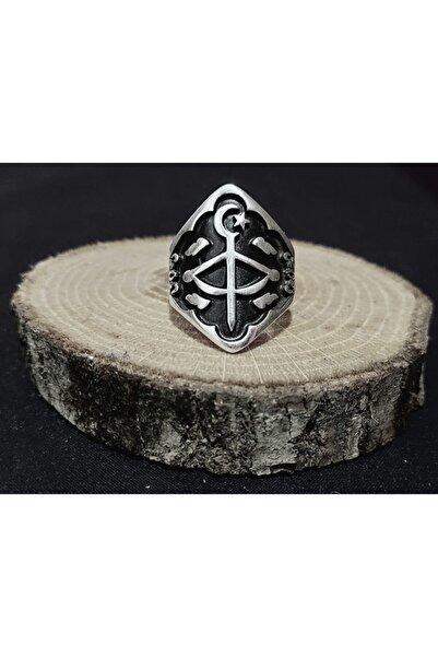 BGRcollection Okçu Yüzüğü/ Zihgir Yüzük Yay Işlemeli Gümüş Kaplamalı Ayarlanabilir