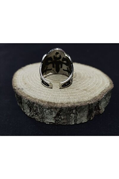 BGRcollection Okçu Yüzüğü/ Zihgir Yüzüğü Çift Başlı Kartal Ayarlanabilir Gümüş Kaplama