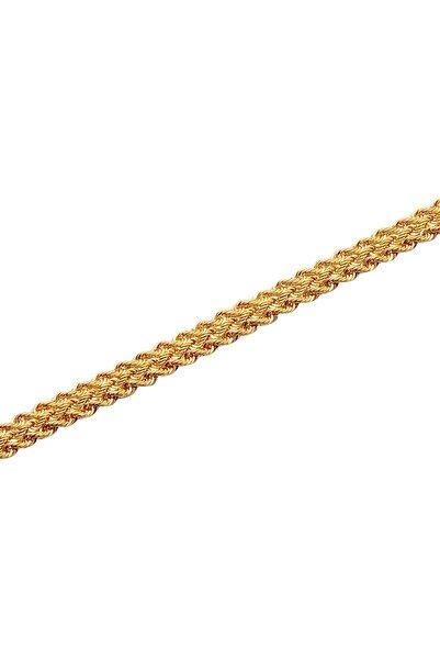 Diamond Line-Gülaylar Kadın Sarı 14 Ayar Halat Örme Altın Bileklik