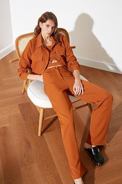 TRENDYOLMİLLA Camel Wide Leg Pantolon TWOSS21PL0174