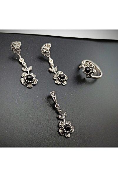 oltutasi.com.tr 925 Ayar Gümüş Çiçek Motifli Hakiki Oltu Taşı 3'lü Set