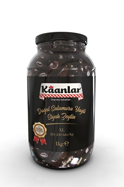 Kaanlar Doğal Salamura Yağlı Siyah Zeytin Premium 1000 gr ( 201-230)