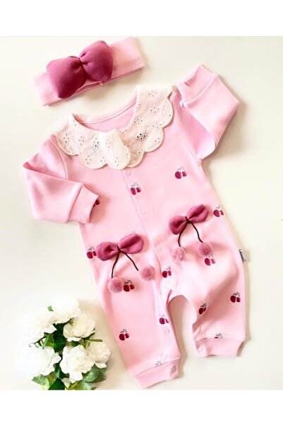 Bilge Bebek Kız Bebek Pembe Kirazlı Bandanalı Tulum Seti
