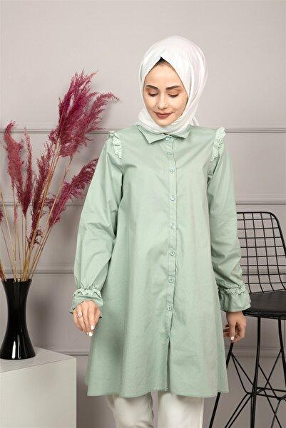 lamelif store Kadın Yeşil Düğmeli Tunik 21108