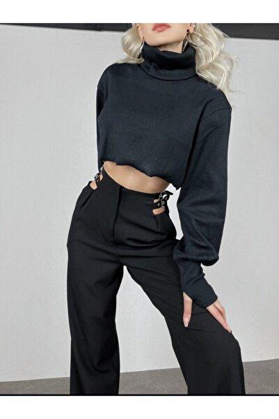HOLLY LOLLY Kadın Siyah Crep Kumaş Yüksek Bel Palazzo Kesi Bel Çift Kemer Detaylı Noche Pantolon