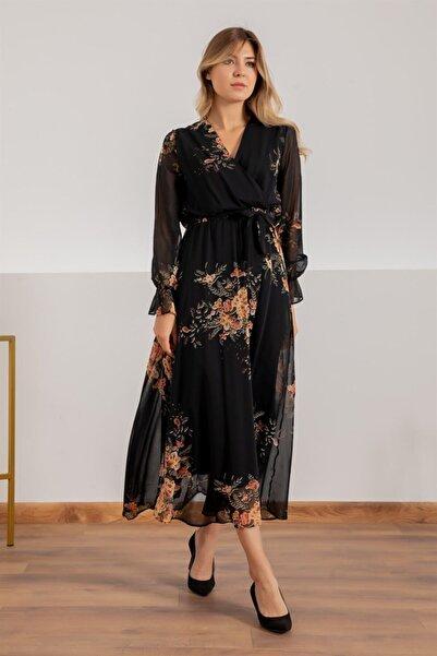 Elbise Delisi Siyah Sarı Çiçekli Kruvaze Yaka Uzun Şifon Elbise