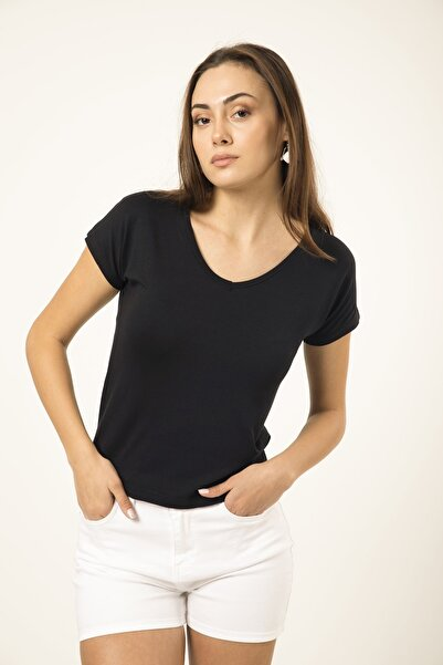 MD trend Kadın Siyah V Yaka Basic T-shirt