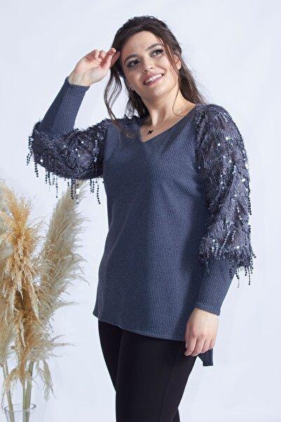 Moda Berray Gri Pullu Kol Büyük Beden Triko Bluz 4005