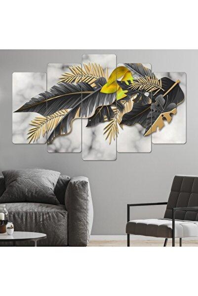 hanhomeart Siyah-gold Yaprak Parçalı Ahşap Tablo Seti-5pr-971