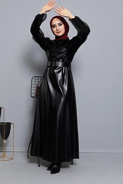Eliza Tül Detaylı Kemerli Deri Tesettür Elbise Siyah