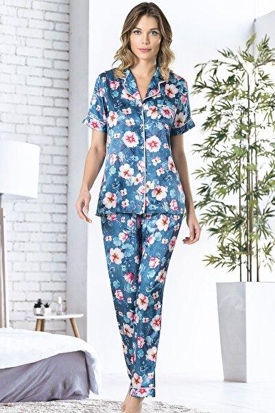 VİENETTA Kadın Saten Uzun Kol Normal Beden Gümüş Pijama Takım