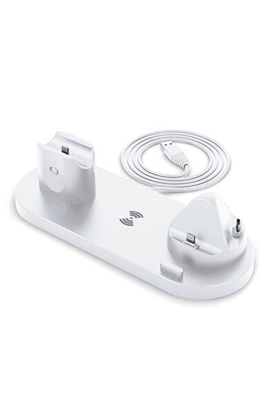Microsonic Iphone, Watch, Airpods, Ios Uyumlu  Kablosuz Şarj Cihazı Istasyonu 6in1 Beyaz