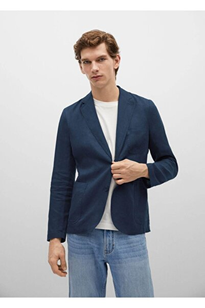 MANGO Man Erkek Lacivert Keten Blazer Ceket