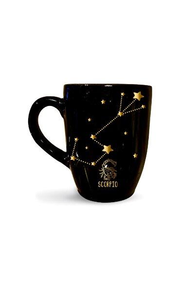 Vivas Yıldız Haritalı Akrep Burcu Siyah Burçlu Kahve Kupası Kupa Bardak Kahve Fincanı