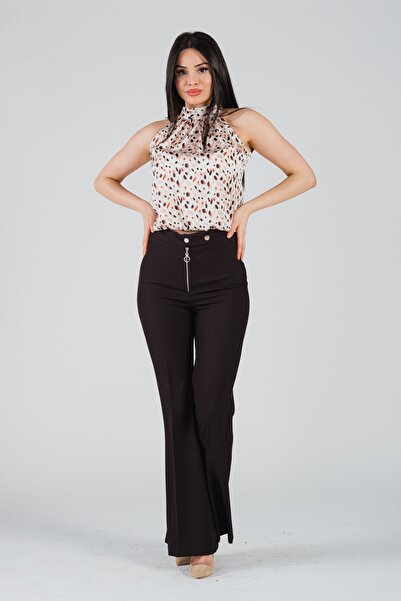 Yare Kadın Siyah Metal Fermuarlı Ispanyol Paça Pantolon