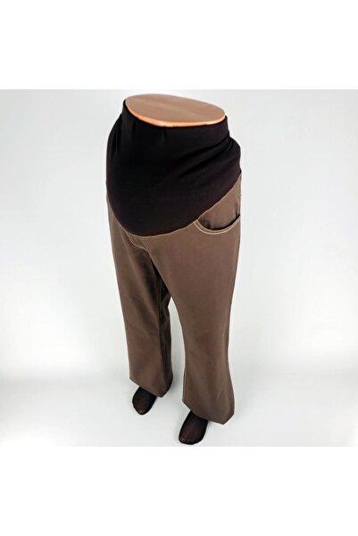 sny Boru Paça Düz Renk Dokuma Pamuk Ribanalı Kahverengi Hamile Pantolon