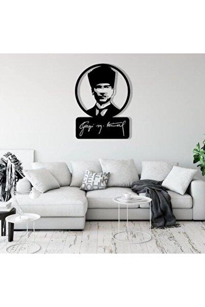 RetroLazer Atatürk Figürü Siyah Ahşap Lazer Duvar Dekoru Tablo