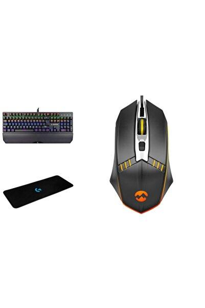 Rampage Kb-r81 Rgb Aydınlatmalı Mekanik Mavi Switch Oyuncu Klavyesi +mouse Pad +sm-g97 Gank Set