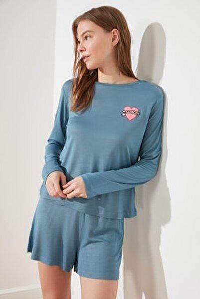 Petrol Nakışlı Örme Pijama Takımı THMSS21PT0277