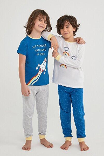 Penti Erkek Çocuk Çok Renkli Colorful Space Ls- 4lü Pijama Takımı
