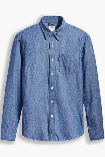 Erkek Slim Fit Mavi Gömlek 86619-0032