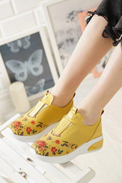 Perim Leather Hardal Hakiki Deri Dijital Baskılı Kadın Sneaker Ayakkabı