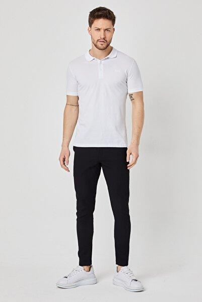 BREEZY Polo Yaka Düğmeli Baskılı T-shirt Beyaz Renk 01004